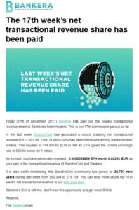 bankera BNK coin dividende v obliki ETH