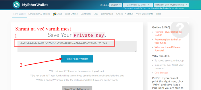 MyEtherWallet shrani privatni ključ