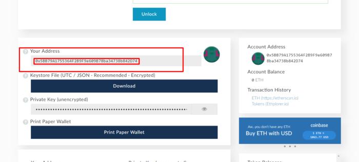 ether denarnica naslov za ICO