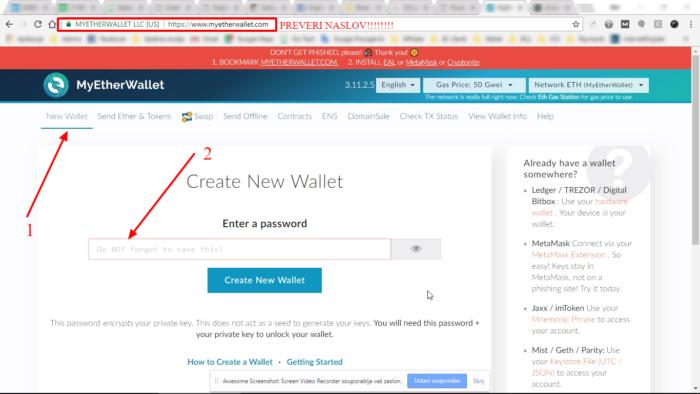 myetherwallet.com namestitev denarnice